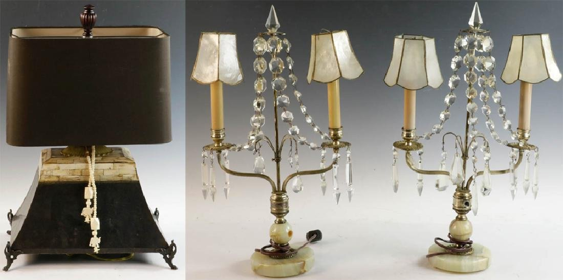 Tooled Copper Lamp and Pair of Table Lamps