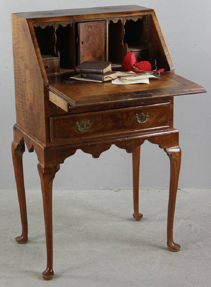Queen Anne Desk >> Diminutive Queen Anne Burlwood Desk