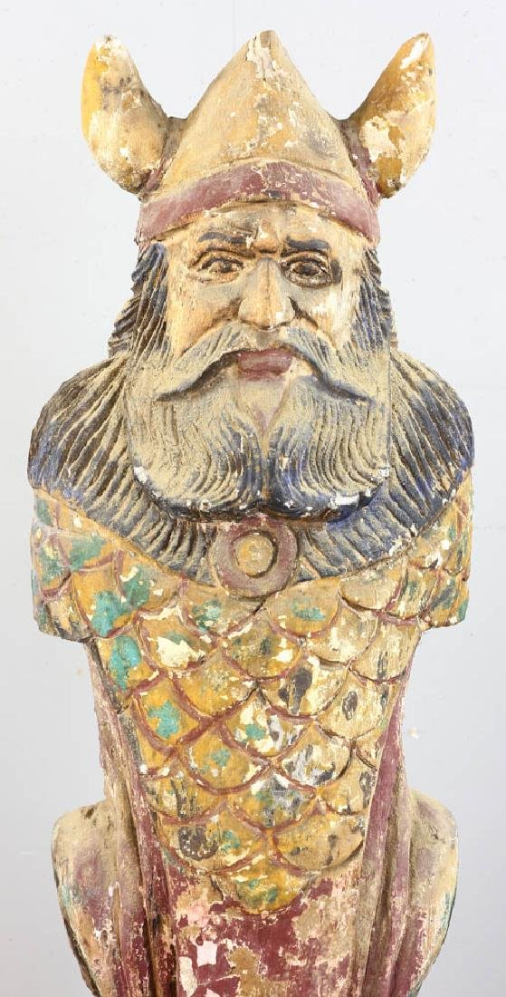 Carved Wood Viking Statue - 6