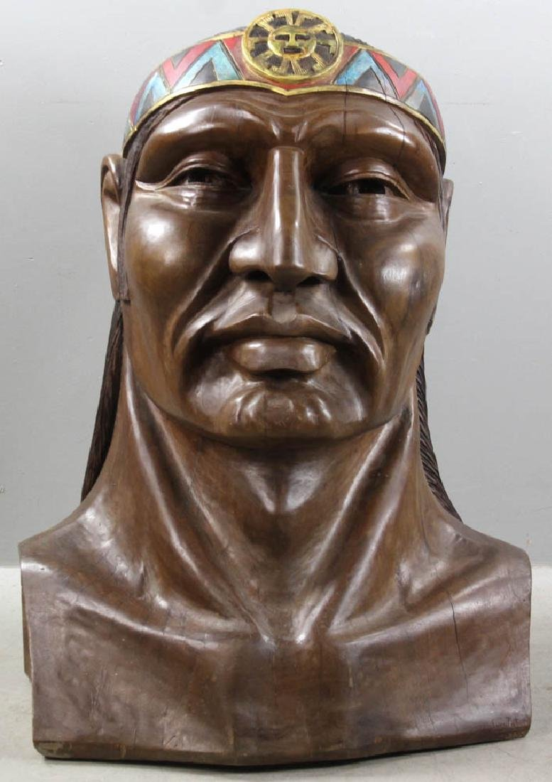 Old Folk Art Carved Head of Indian