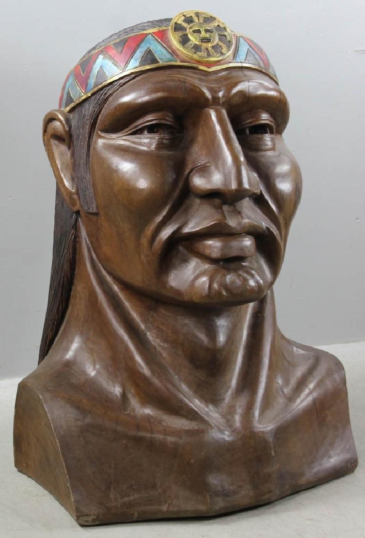 Old Folk Art Carved Head of Indian - 2