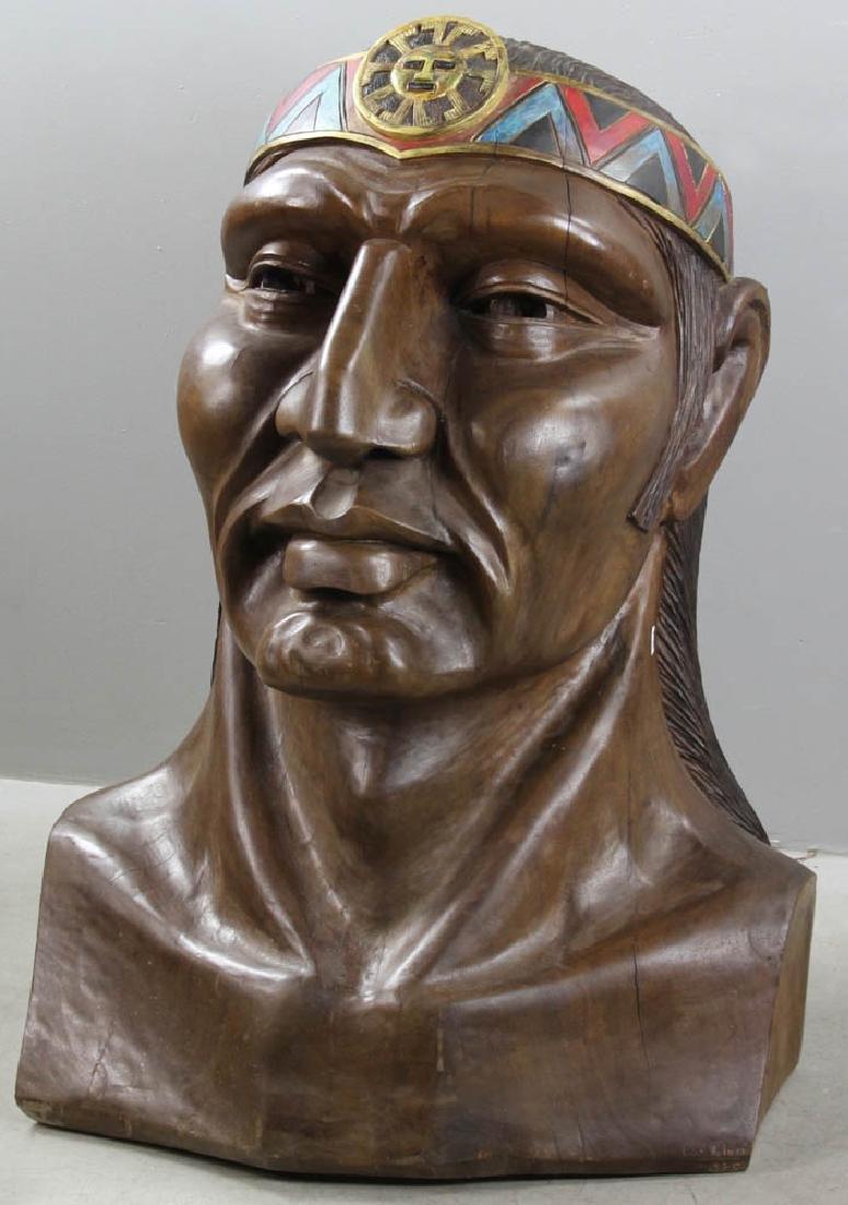 Old Folk Art Carved Head of Indian - 3