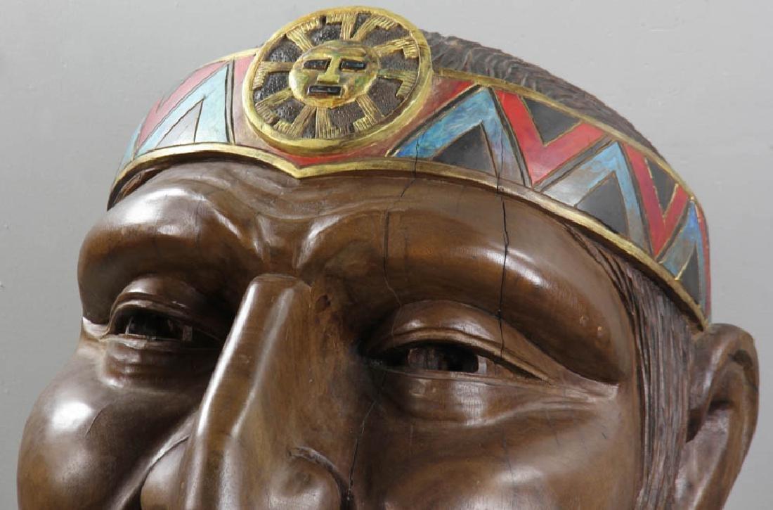 Old Folk Art Carved Head of Indian - 4