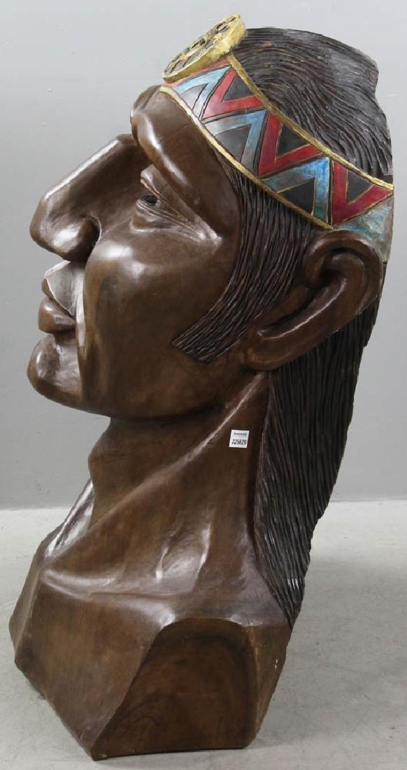 Old Folk Art Carved Head of Indian - 5