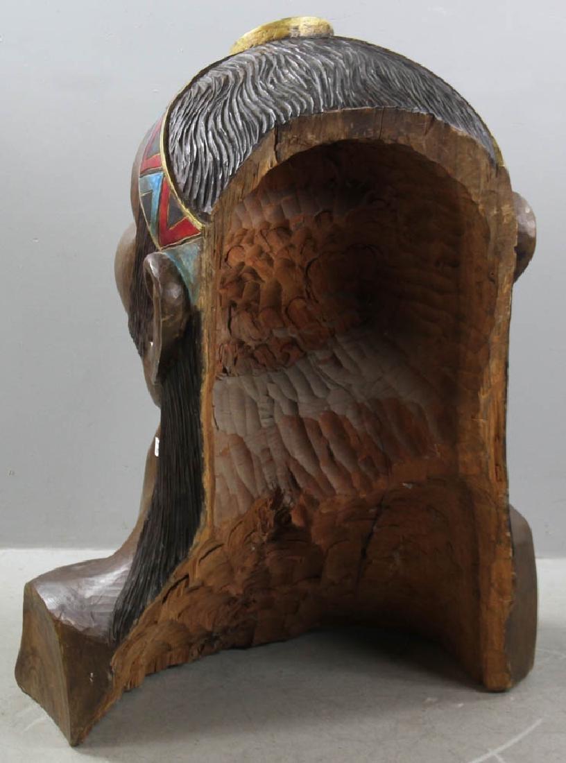 Old Folk Art Carved Head of Indian - 6