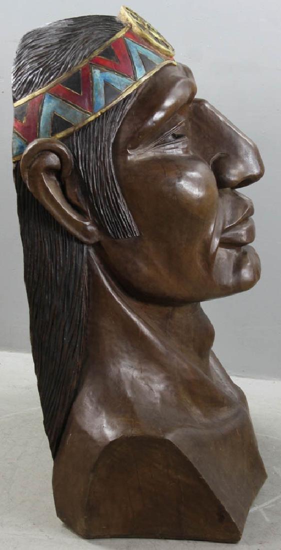 Old Folk Art Carved Head of Indian - 7