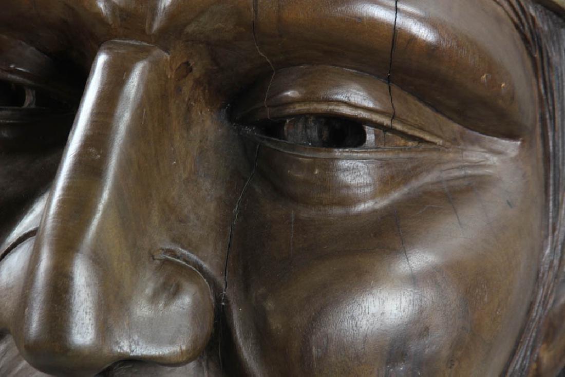 Old Folk Art Carved Head of Indian - 9