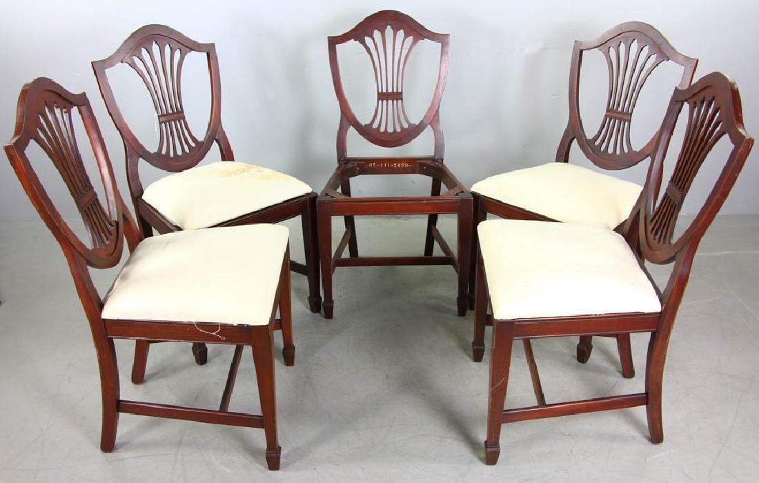 Set of Mahogany Shield Back Dining Chairs - 4