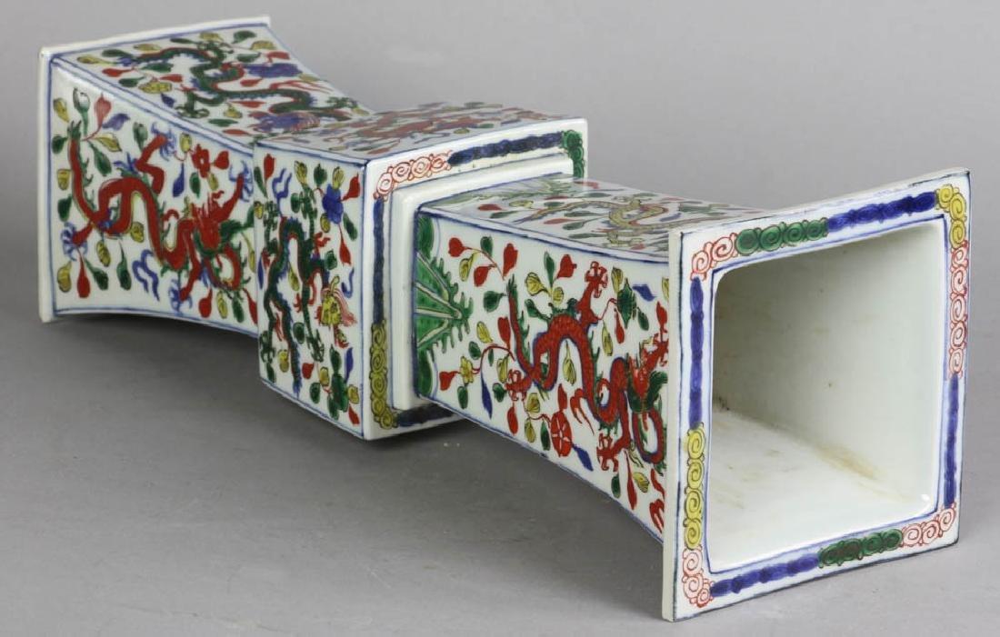 Chinese Ming Style Famille Verte Gu Vase - 4