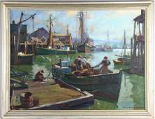 Emile A Gruppe Oil on Canvas Gloucester Harbor