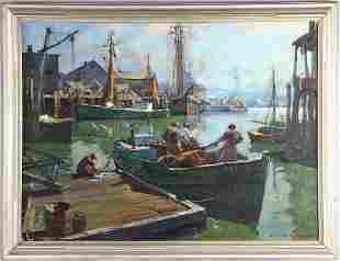 Emile A. Gruppe Oil on Canvas, Gloucester Harbor