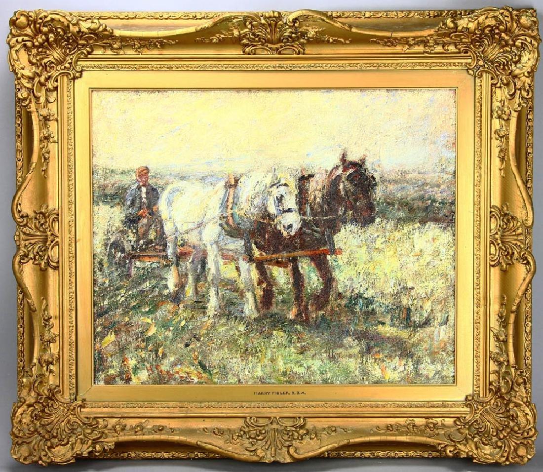 Harry Fidler, Horses Pulling Farmer, Oil on Canvas