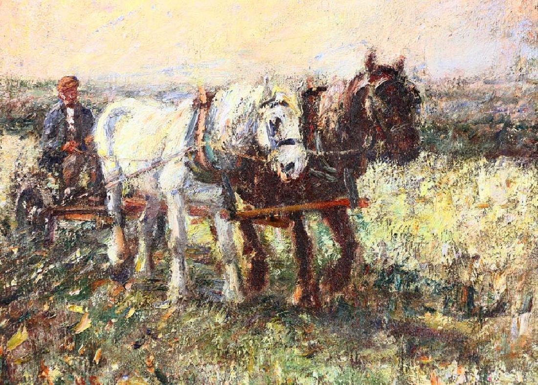 Harry Fidler, Horses Pulling Farmer, Oil on Canvas - 2