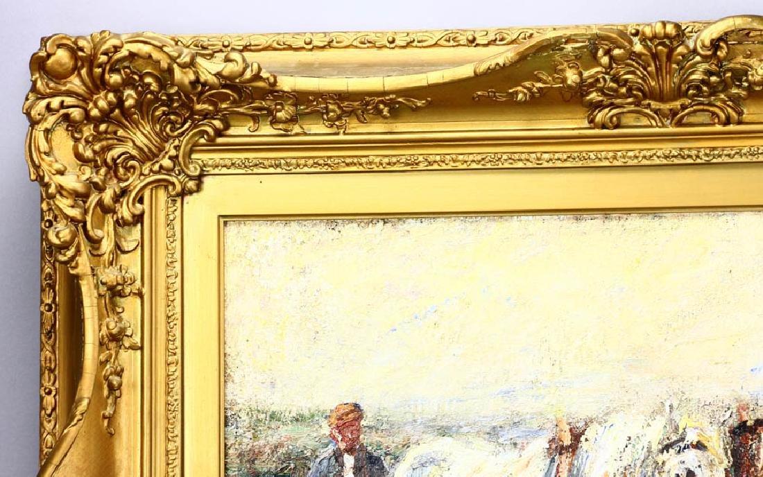 Harry Fidler, Horses Pulling Farmer, Oil on Canvas - 3