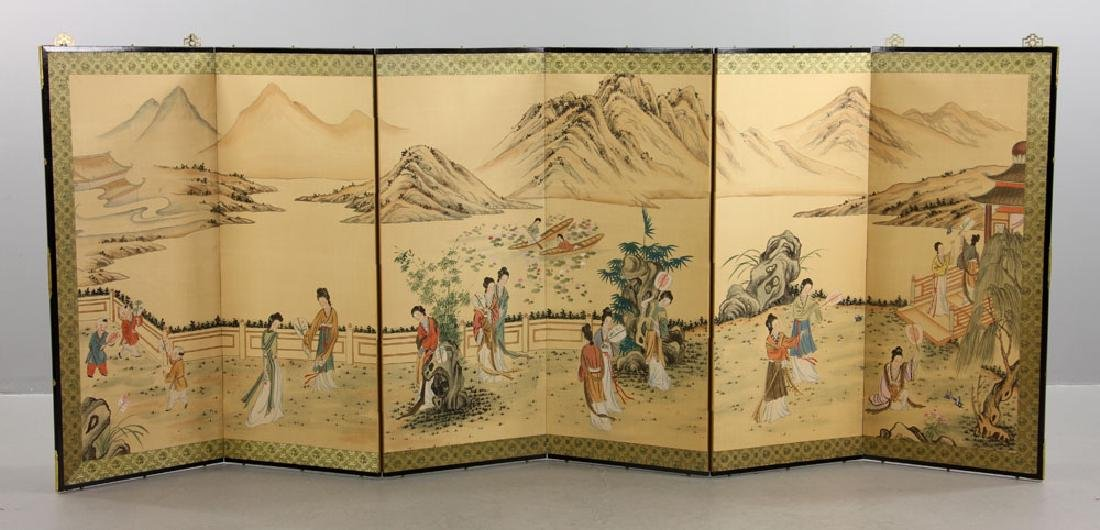 Chinese Hand Painted Folding Screen