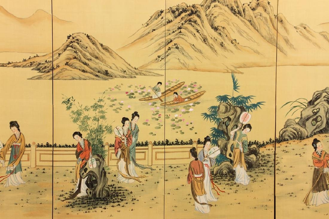 Chinese Hand Painted Folding Screen - 4