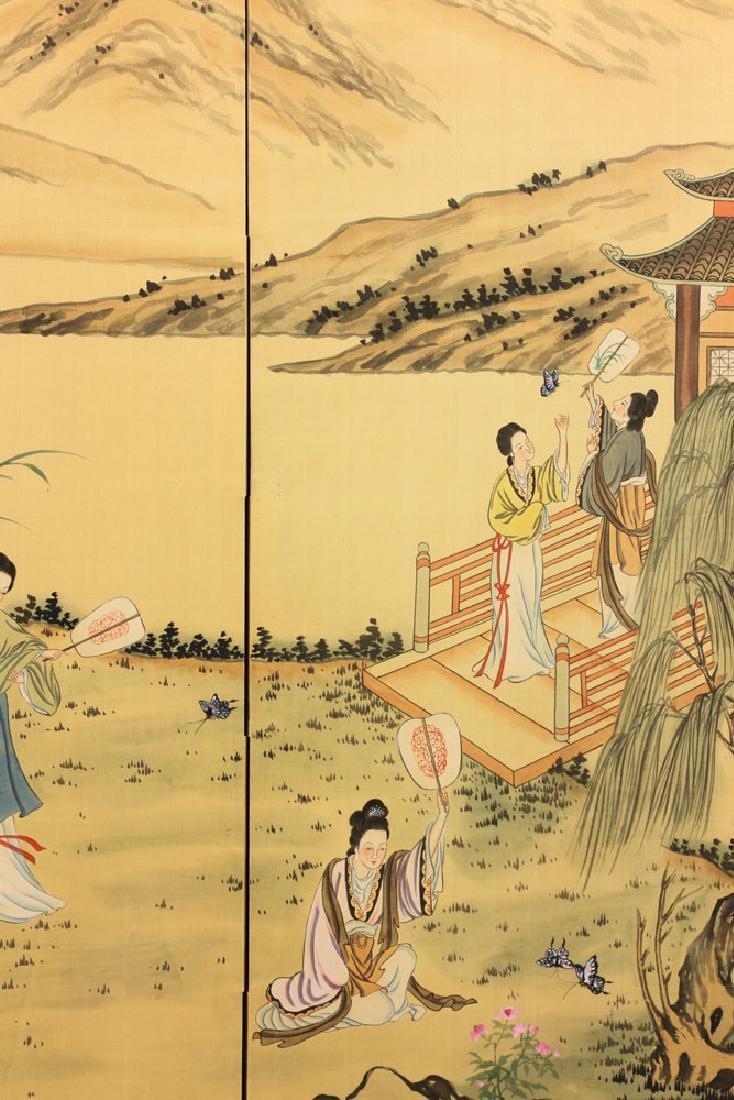 Chinese Hand Painted Folding Screen - 5