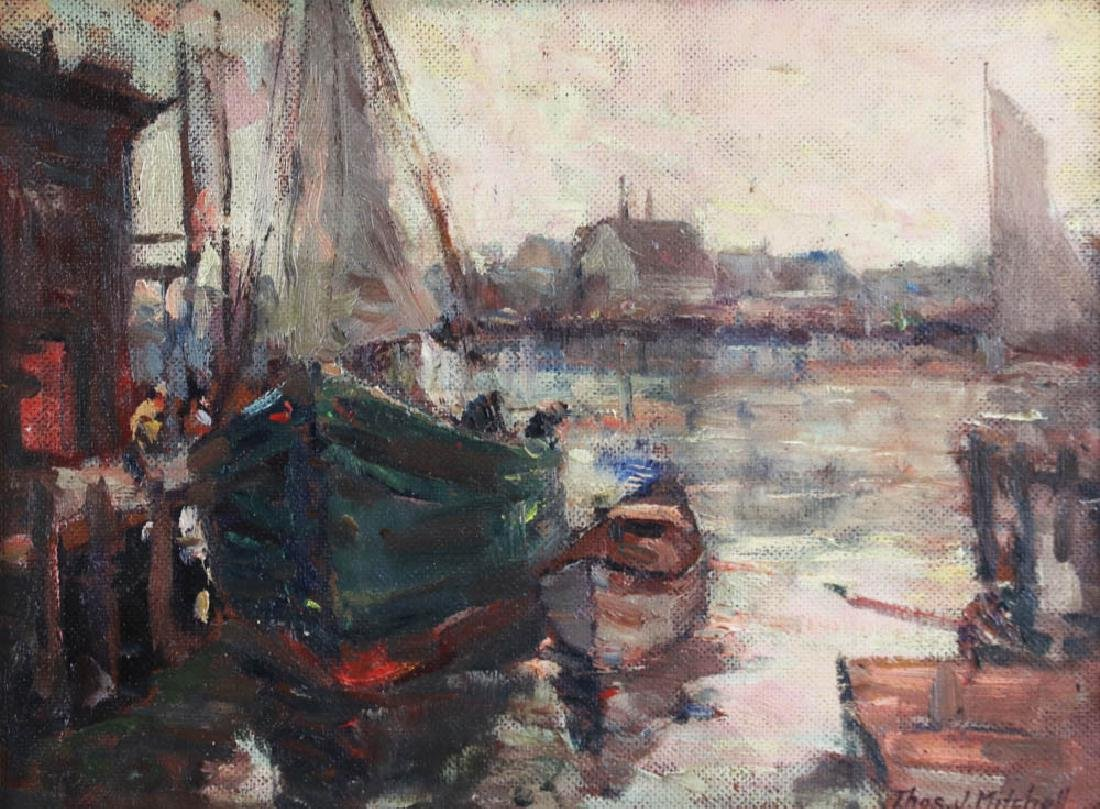 Thomas Mitchell, Gloucester Boats, Oil on Board - 2