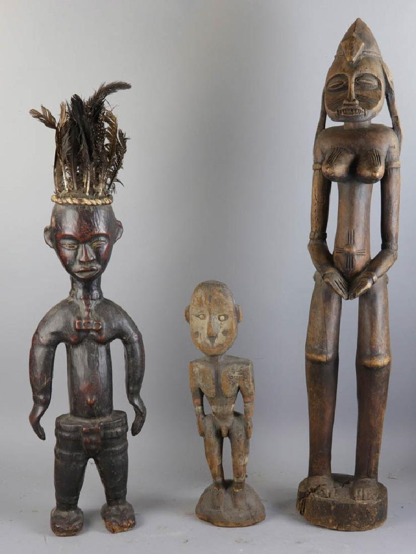 Three Antique African Carved Wood Figures