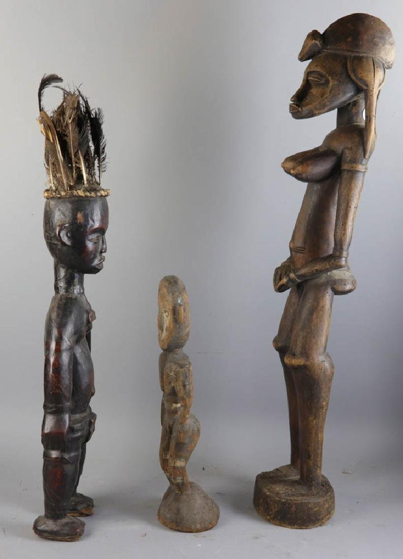 Three Antique African Carved Wood Figures - 5