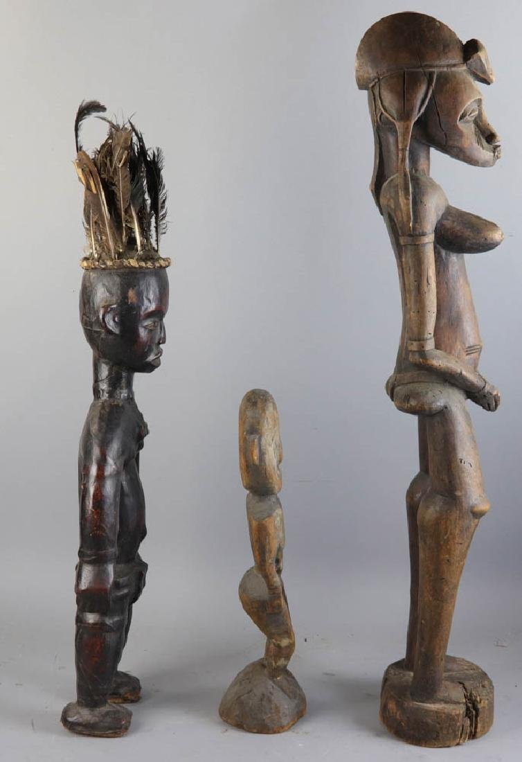 Three Antique African Carved Wood Figures - 6