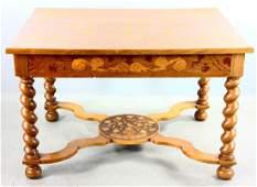 Dutch Mahogany Inlaid Single Drawer Table