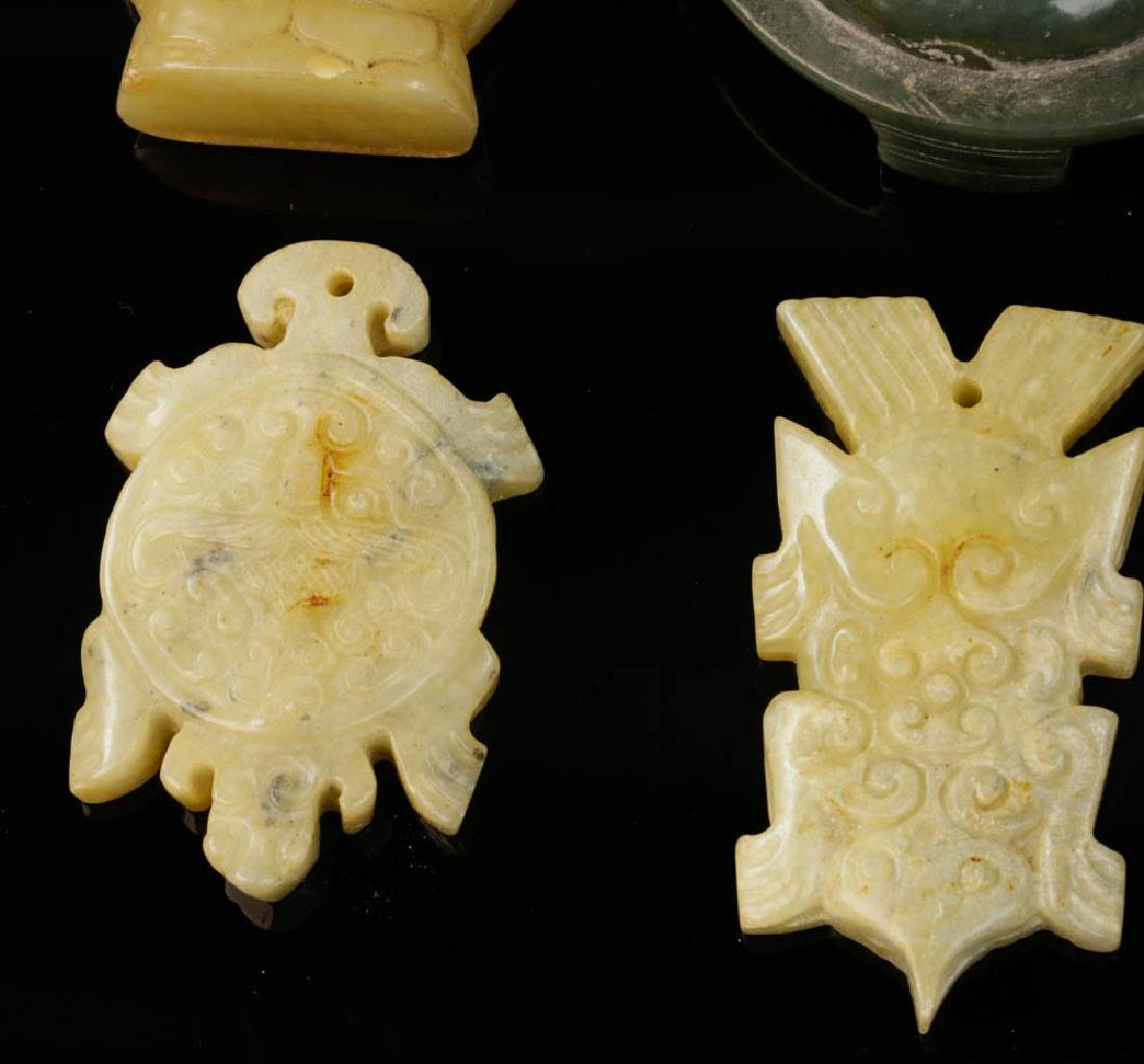 (11) Chinese Carved Hardstone Pendants - 7