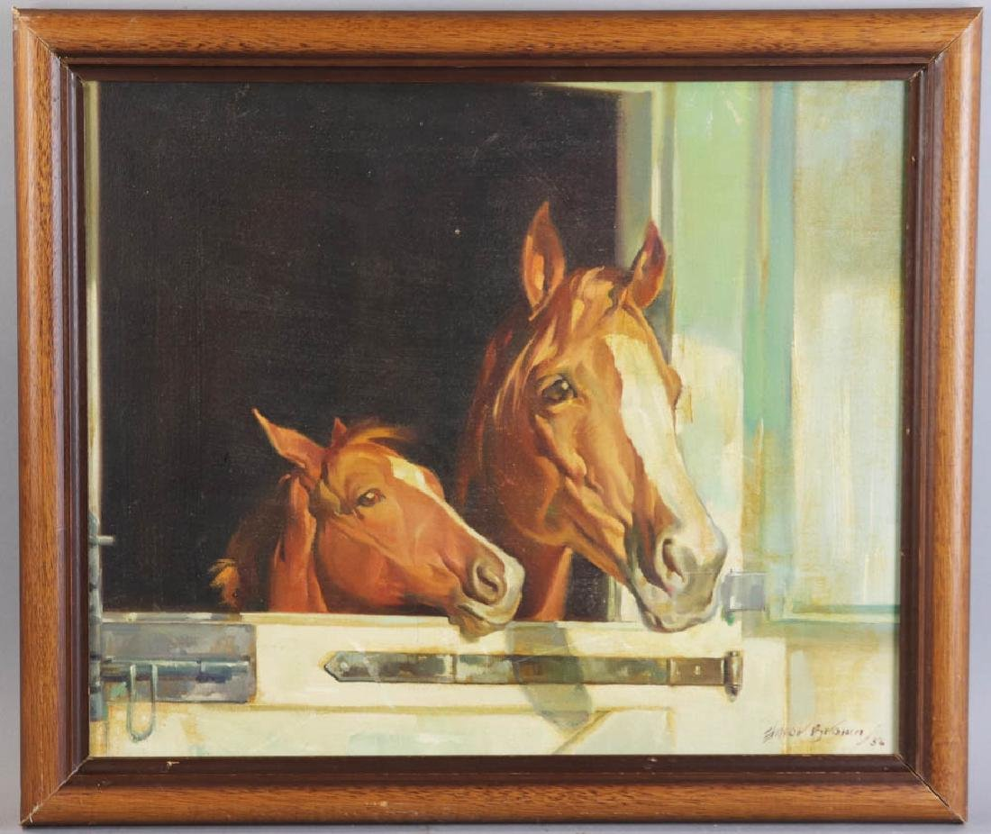 Elmore Brown Oil on Canvas. Horses in Stable
