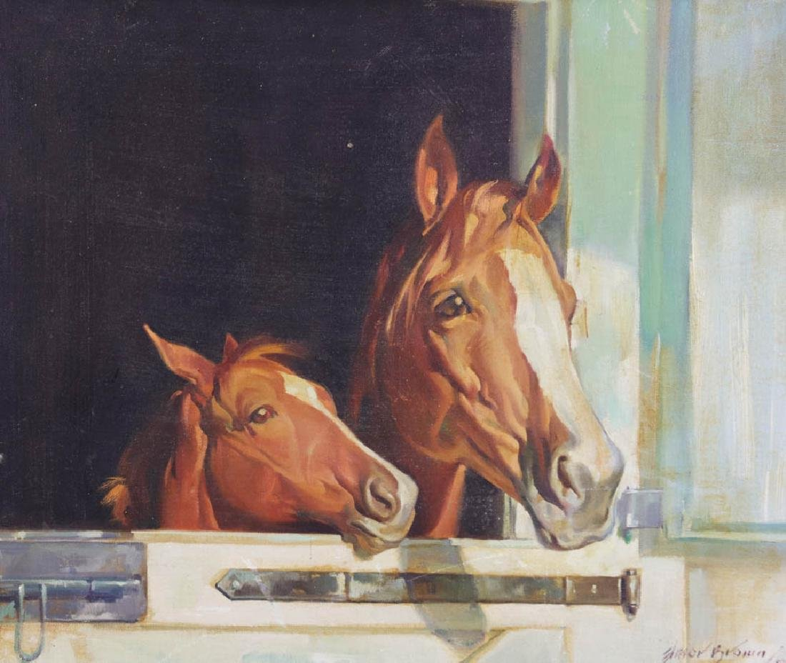 Elmore Brown Oil on Canvas. Horses in Stable - 2