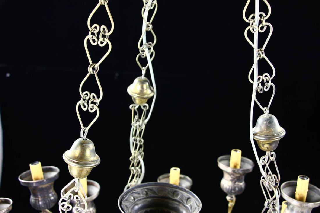 Antique Russian Brass and Silverplate Chandelier - 8