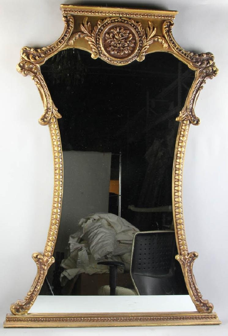 Antique Giltwood Mirror with Crest