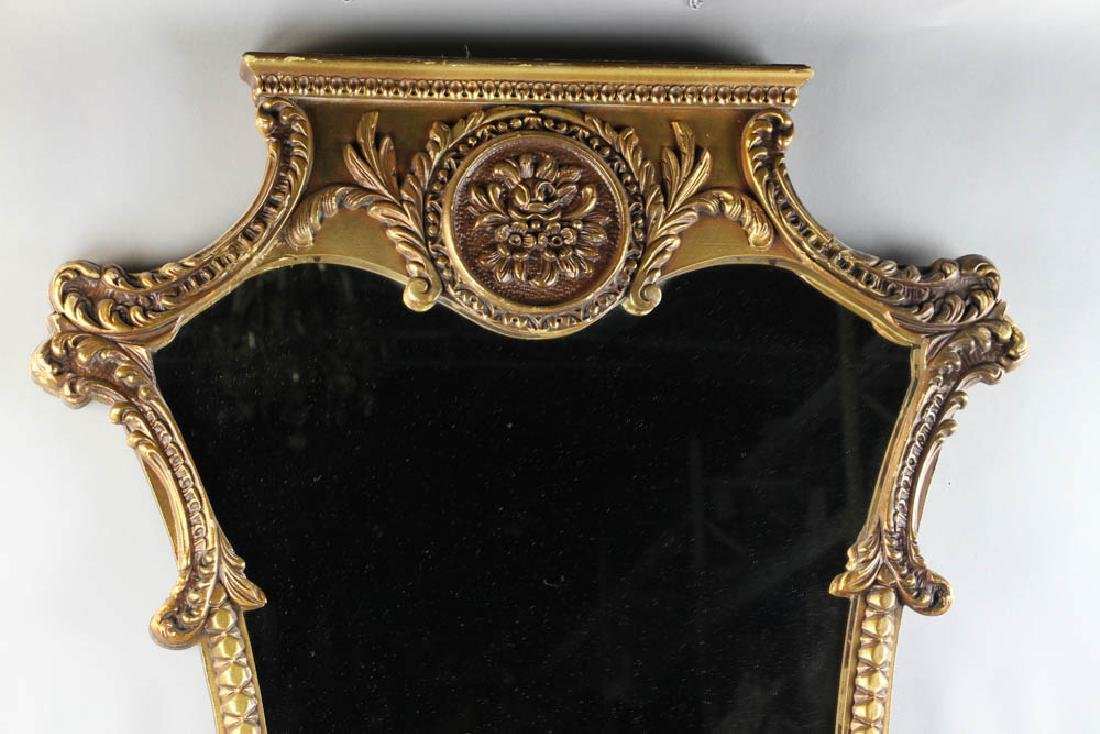 Antique Giltwood Mirror with Crest - 2
