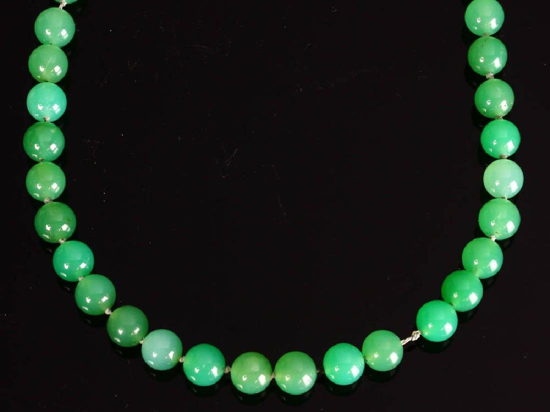 Jade Bead Necklace with 14K Yellow Gold Clasp - 2