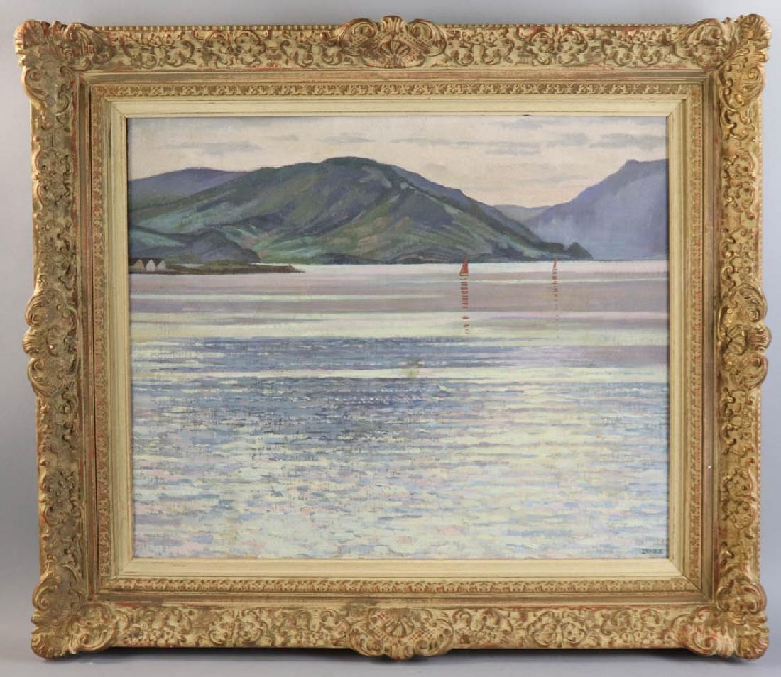 William Inness, Lake Scene, Oil on Panel