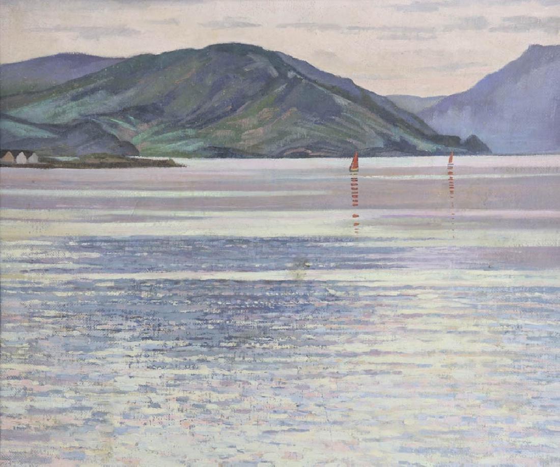 William Inness, Lake Scene, Oil on Panel - 2