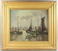 Emile Gruppe Harbor Scene Oil on Canvas