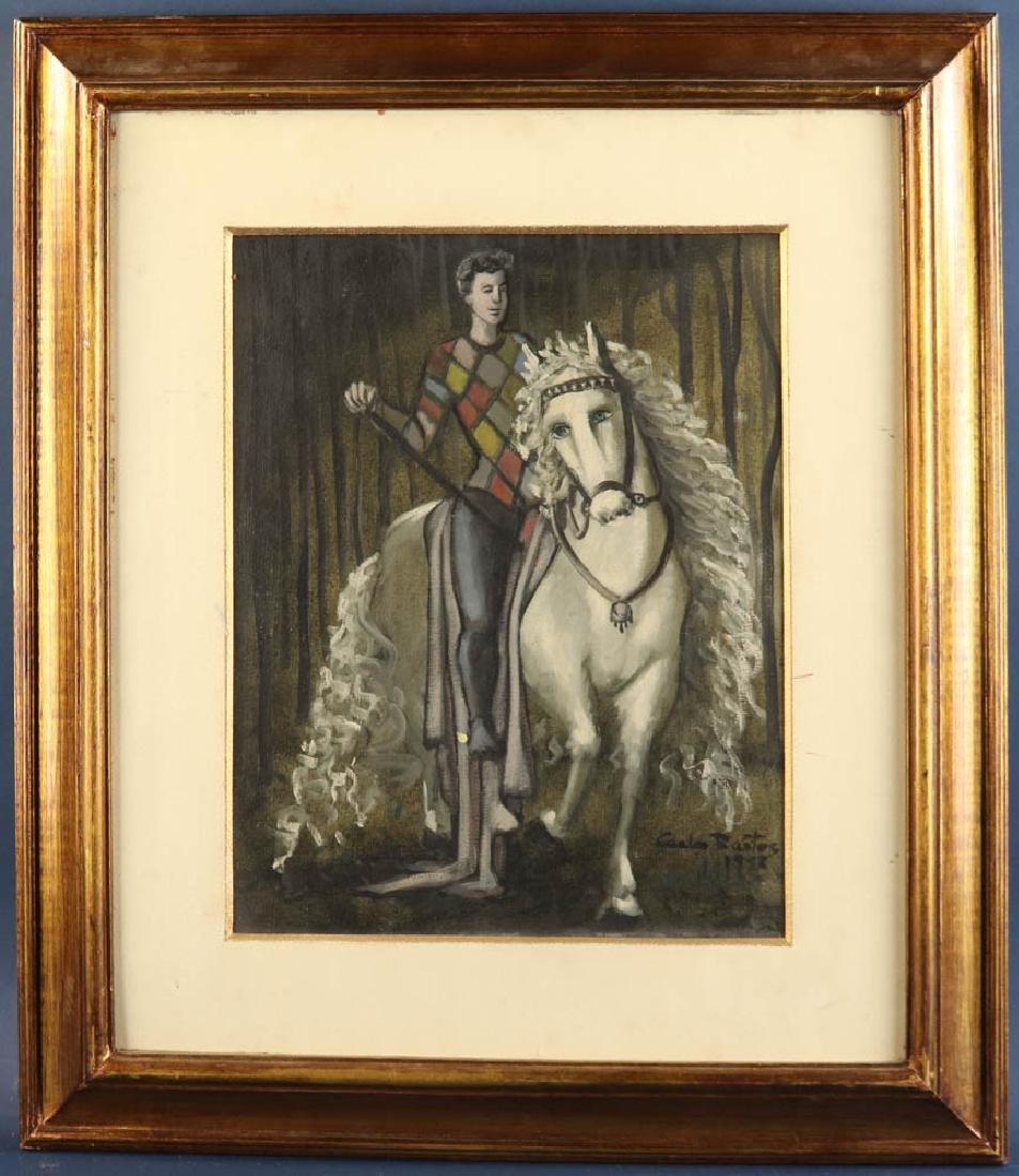 Carlos Bastos Man on a Horse Oil on Canvas