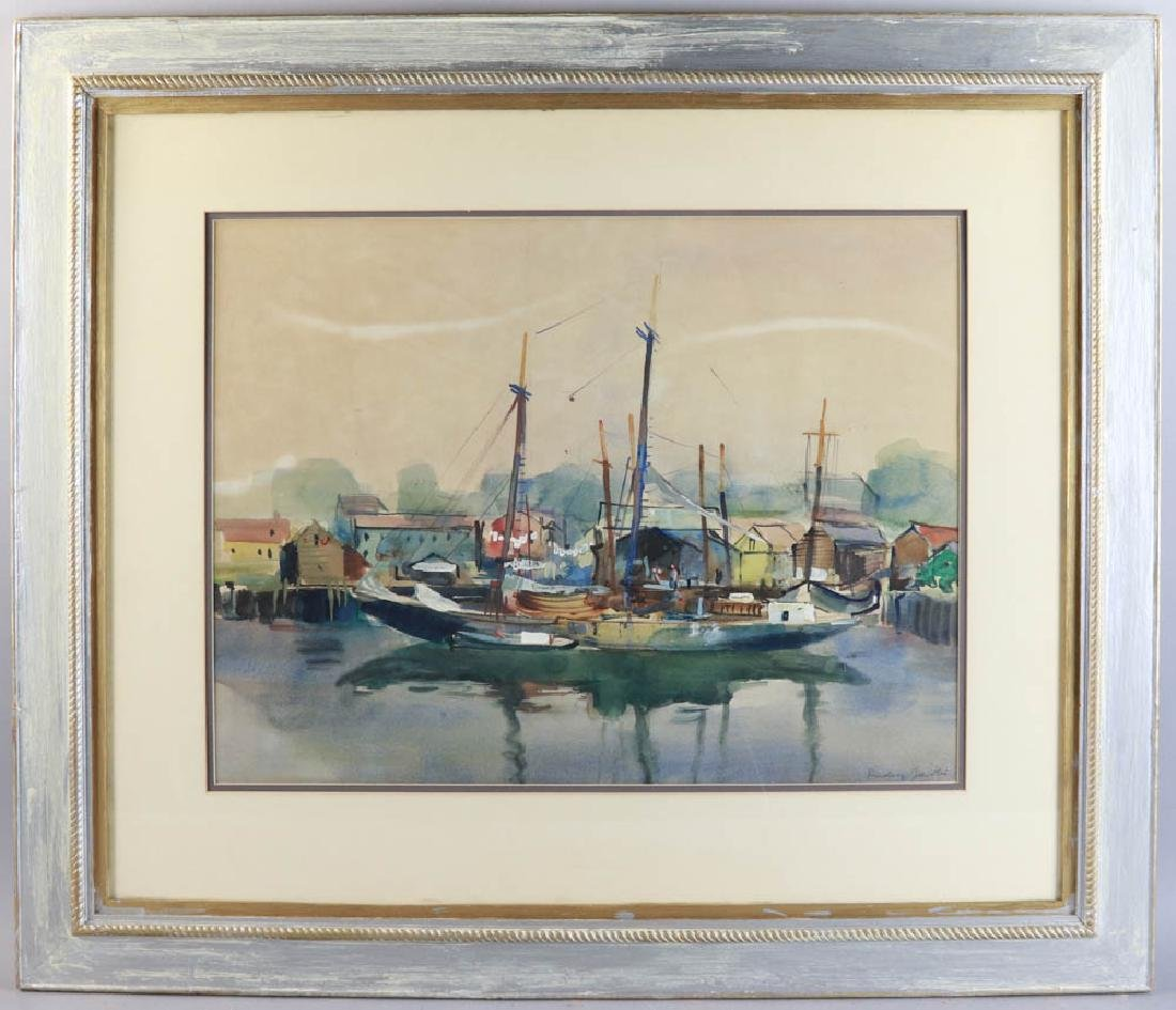 Docked Sailboats Watercolor on Paper