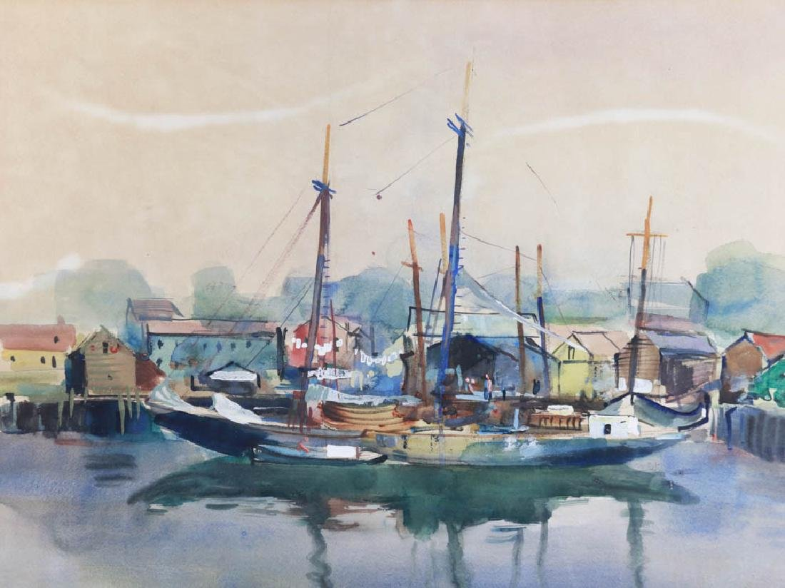 Docked Sailboats Watercolor on Paper - 2