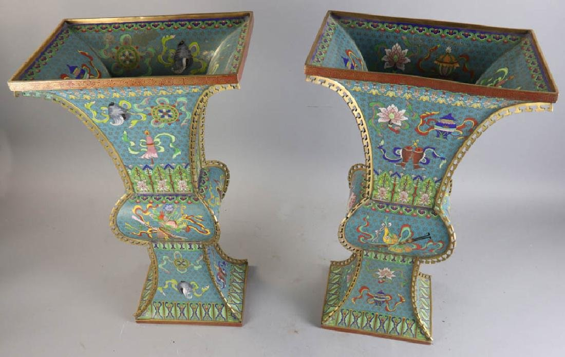 Pair Chinese Cloisonne Vases - 6