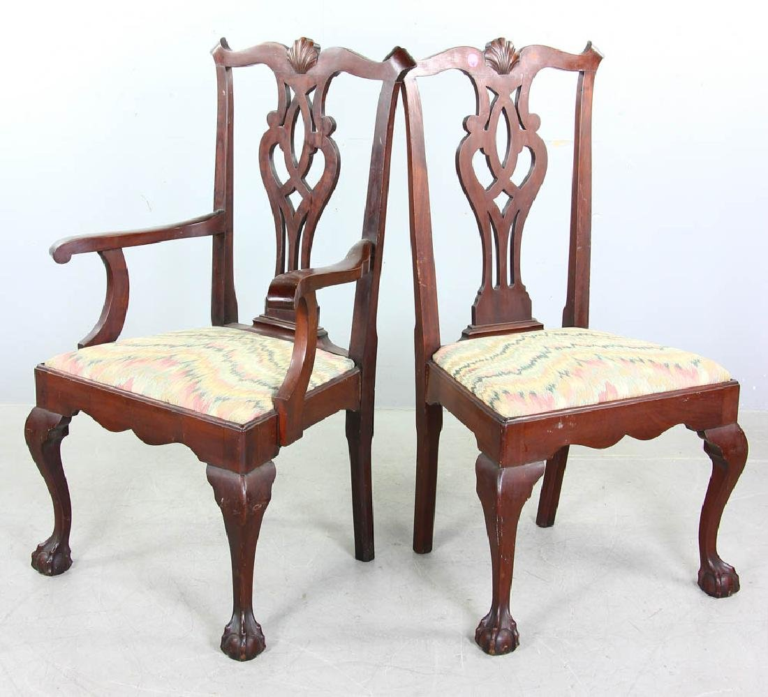 Set of Chippendale Style Mahogany Chairs - 5