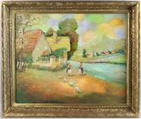 David Burliuk Farm Scene Oil on Canvas