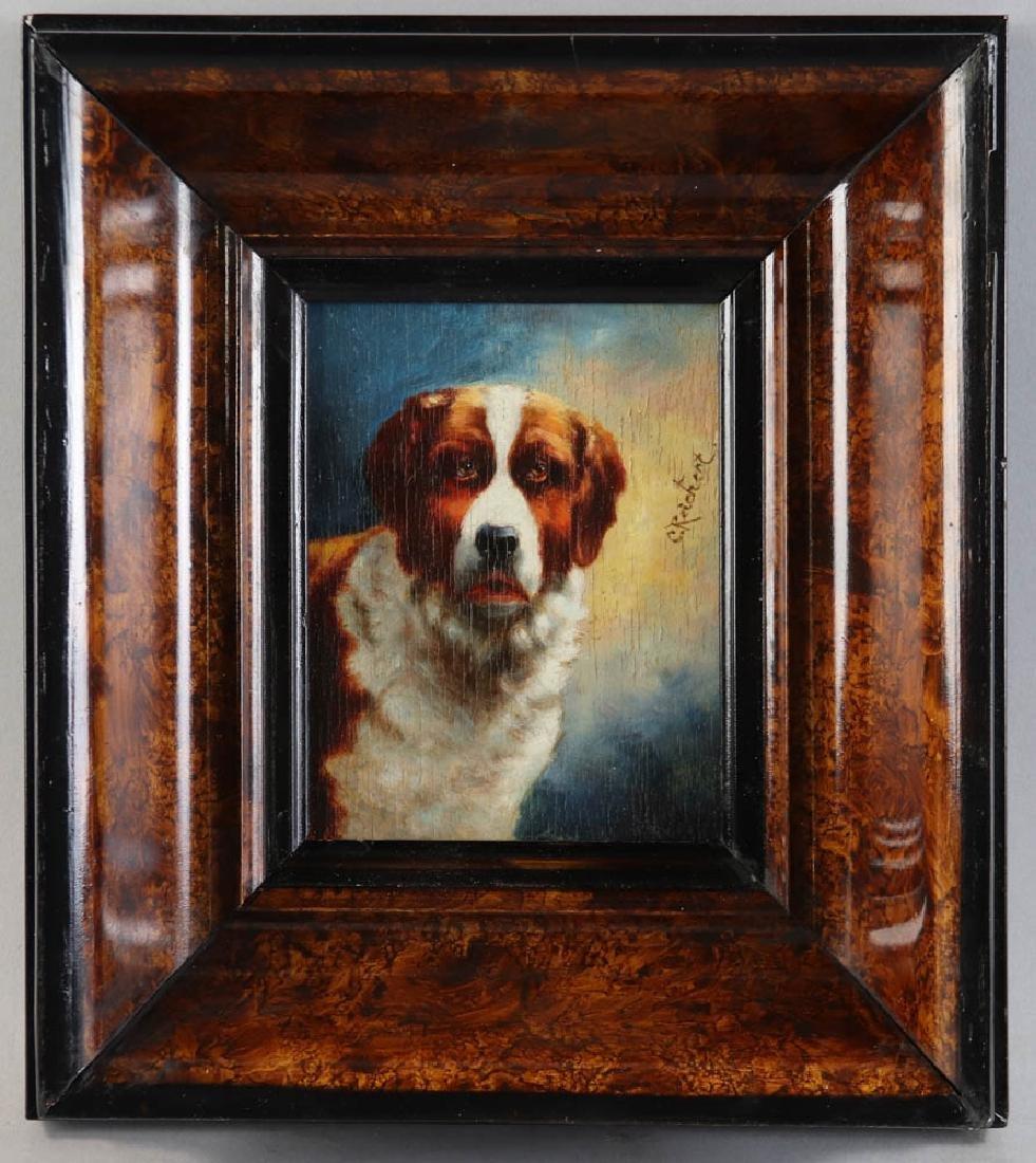 Carl Reichert Dog Oil on Panel