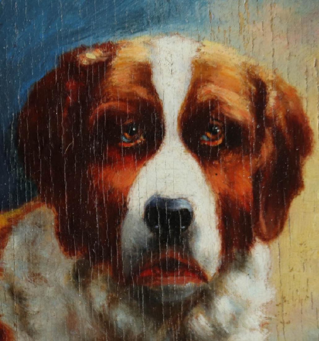 Carl Reichert Dog Oil on Panel - 2