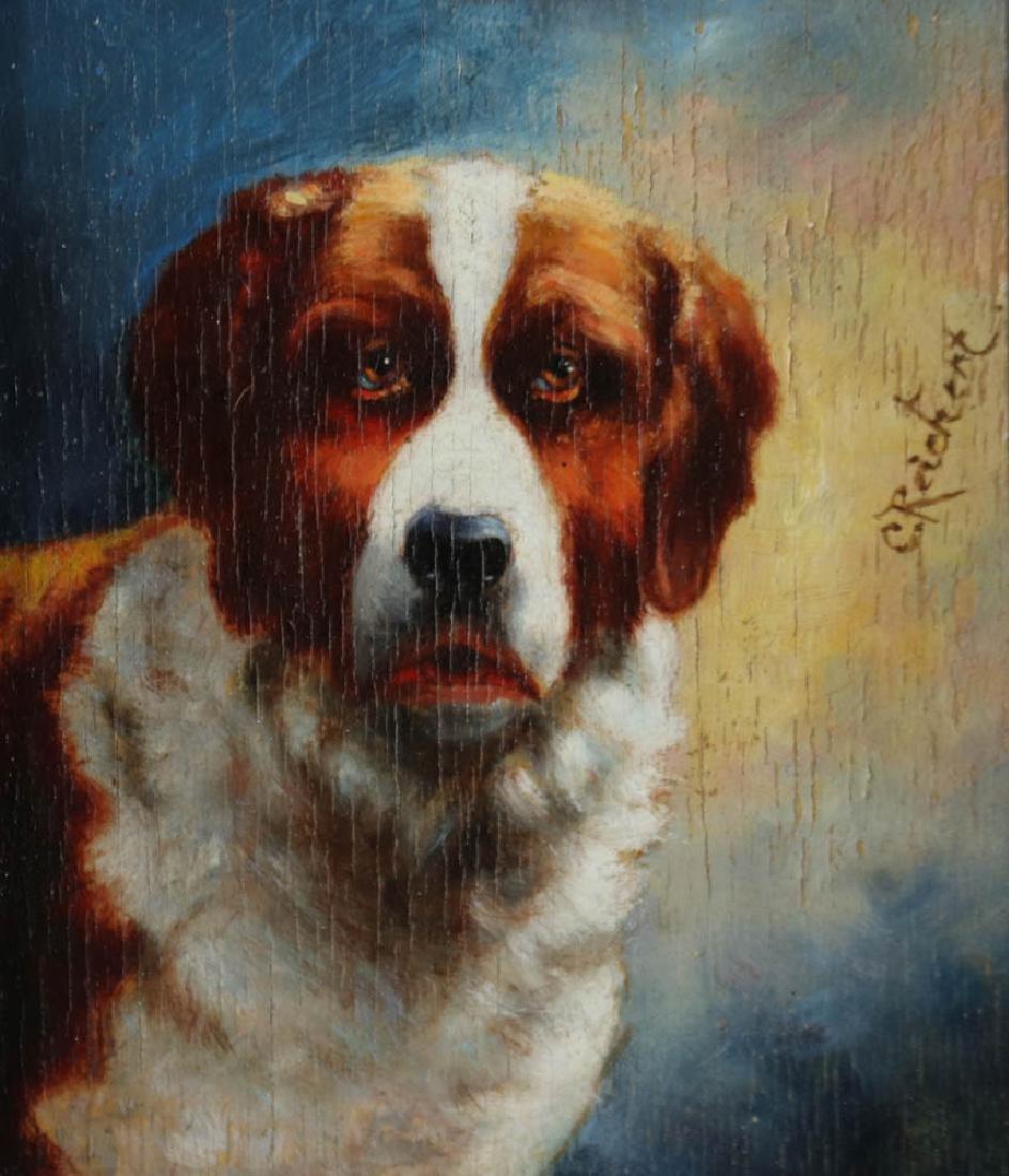 Carl Reichert Dog Oil on Panel - 3