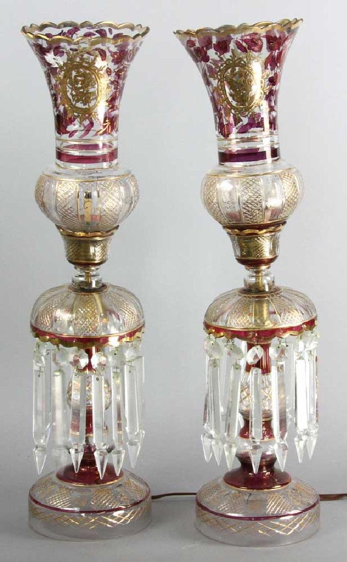 Pair of Antique Persian Cut Glass Lamps