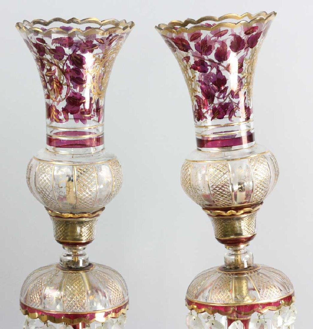 Pair of Antique Persian Cut Glass Lamps - 4