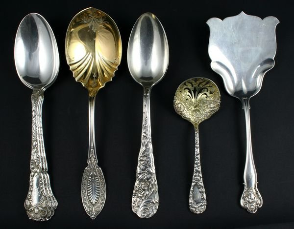 2001: 5 Vintage American Sterling Serving Pieces
