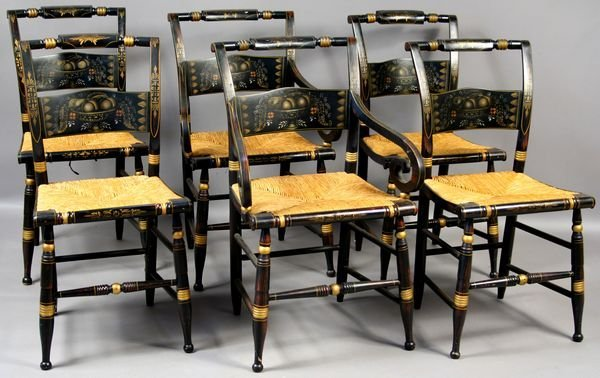 2008: 6 20th C American Hitchcock-Style Chairs