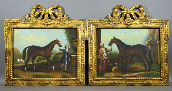 2016: Pair of 20th C. English Sporting Horse Portraits